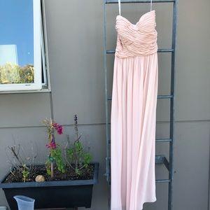 Donna Morgan Blush bridesmaid strapless gown